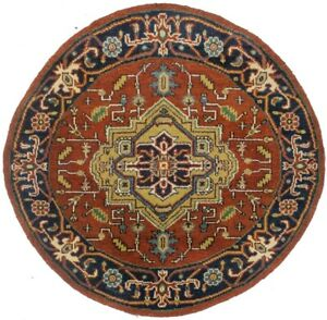 Farmhouse Heriz Serapi Tribal Design 4X4 Oriental Round Rug Home Decor Carpet
