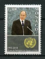Monaco 2018 MNH UN United Nations Membership 25th Anniv 1v Set Stamps