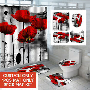 Ink Flower Waterproof 180CM Shower Curtain Bath Mat Toilet Anti-slip Carpet Rug
