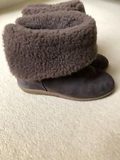 LK Bennet Brown Suede Fur Lined Boots, Hidden Wedge, Size 5, VGC