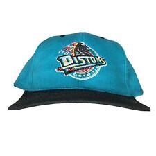 DETROIT PISTONS 90s VTG Snapback Hat Turquoise Teal Old Logo NBA Hip Hop OG