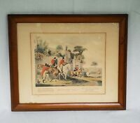 "Vintage ""Batchelors Hall Plate 1"" Framed/Matted Fox Hunting Horse Print"