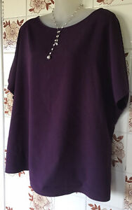 Simon Jersey Purple Tunic Top - Size 22 - Short Sleeved