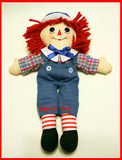 """RAGGEDY ANDY DOLL 13"""" embroidered stitched raggedy ann vintage overalls"""