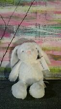 "NWT CARTER'S BUNNY BABY PLUSH WHITE GRAY PINK NOSE SHAGGY TOY LOVEY 10"" STUFFED"