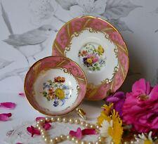 VTG Paragon Teacup Pink band Flowers Gold English Bone China Tea Cup Saucer Set