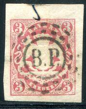 BAYERN 1867 15 gestempelt oMR BP + TEILFEDERZUG (D4622