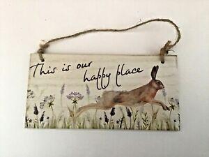 Running Hare wildlife nature rectangular wooden hanging plaque gift Free P & P