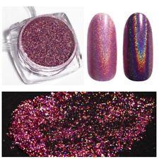 HOLOGRAHIC Chrome Mirror Pink Rose Gold Nail Art Glitter Powder UV GEL DIY Decor