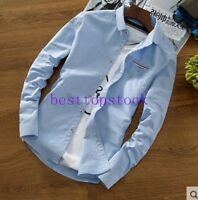 Casual Men's Slim Cotton Blend Korean Long Sleeve Button Shirts Fashion Tops Sz