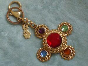 Butler & Wilson (B&W) goldtone multi-coloured handbag charm / keyring