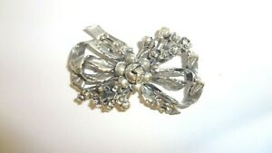 Vintage HOBE  Sterling Silver Floral Bouquet Bow Brooch