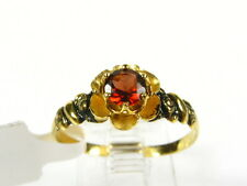 Victorian 14k Yellow Gold Sterling Silver Natural Garnet Floral Ring I062G