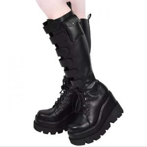 Women Platform Wedge Knee High Boots Buckle Round Toe Punk Knight Goth Heel Shoe
