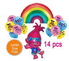 Trolls Poppy Rainbow Jumbo Shape Helium Quality Foil + 12 Latex Balloons