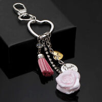 Rose Tassel Key Chain Ring Women Handbag Bag Accessory Pendant Keyring Keychain