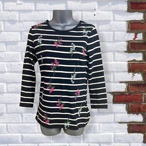 DOROTHY PERKINS -Womens UK 8 Black & White Striped Floral 3/4 Sleeve T-Shirt Top