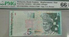 MALAYSIA RM5 PMG 66 EPQ Ali Hassan Replacement ZA
