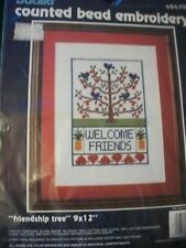"Bucilla ""Friendship Tree"" Counted Bead Embroidery Kit Size 9"" x 12"""
