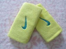 """Nike Swoosh Double Largeur Bracelets 5 """" Jaune / Atomique Teal Adulte Osfm Neuf"""