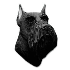 Schnauzer Head Plaque Figurine Black Miniature