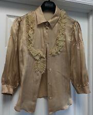 Prada Solid Gold Beige Silk Blouse 3/4 Sleeves Ruffles Size 40 US 4 $1.5k