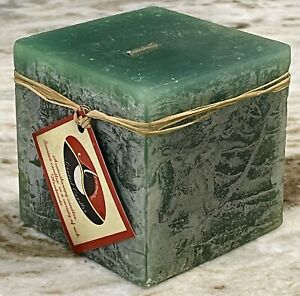 Handcrafted 3x3x3 Jade Green PROSPERITY GROWTH Square Decorative Pillar Candle