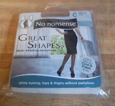 No Nonsense Great Shapes Body Pantyhose Size C CC4 Beige Mist Sheer Toe NIP