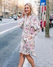 Johanna Ortiz x H&M Linen shirt dress Natural white Orchids Size SMALL UK 8 10