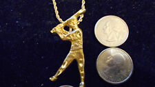 bling gold plated baseball batter big game pendant charm chain hip hop necklace