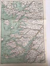 Scotland 1915 Original Antique County Map Bartholomew Portree Oban Fort William