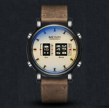 MEGIR STEAMPUNK JUMP HOUR DRUM QUARTZ WATCH CHAMPAGNE DIAL