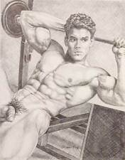 "9"" x 12"" drawing print nude male from vintage weight lifting gay art"