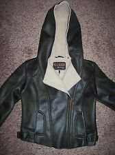 GUESS Olive Faux Leather And Fur Hooded Moto Bomber Jacket M 221MS370