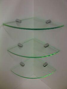 CORNER SHELF NON RUST ACRYLIC IDEAL BATHROOM SHELVES 3 x GLASS EFFECT PERSPEX
