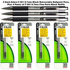 3 Ea Zebra F-301 Black 0.7 mm Retractable Pens Plus 4 Packs 0.7 mm Black Refills