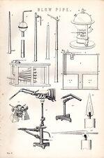 1880 stampa ~ Blow-TUBO ARIA ~ Torcia Apparecchi a gas fiamma ecc.