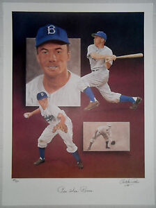 PEE WEE REESE Signed Christopher Paluso Lithograph Brooklyn Dodgers HOF #/500