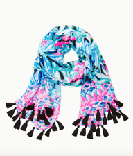 LILLY PULITZER Tassle scarf Wrap Maldives Green Hype It Up