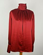 JH Collectibles Womens 16 Silky Red Blouse XL Darted Mock Turtleneck