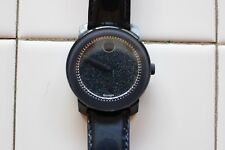 """Movado """"Bold"""" Glitter Navy Dial Blue Leather Strap Watch 42mm $495.00"""