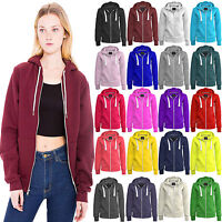 Womens Ladies PLAIN Hooded Hoodie Zip Sweatshirt Jacket Coat Plus Size Top S-8XL