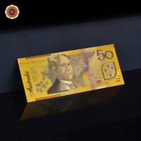 WR 24K Gold Colored Australian 50 Dollars Notes Australia Polymer Banknote 2002s
