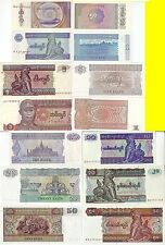 MYANMAR 50 PYAS 1 5 10 20 50 KYATS 1990 - 1997 7 BANCONOTE FDS UNC