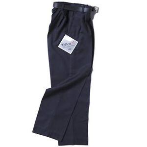 Boys 1/2 Elastic Waist School Trousers with belt  Teflon Coated BNWT Navy Brown