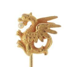 Art Nouveau 14k Gold Dragon Griffin Stick Pin Alling & Co. 020217045