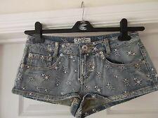 Size 8 Blue Denim Shorts/Hotpants by Miss Denim with Star Print Embroidery