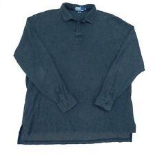VTG Polo Ralph Lauren Polo Rugby Shirt Bluish Gray Cotton Micro Check Mens XL
