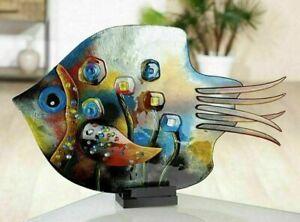 MASSIVE 61.5cm Italian Art Glass Multi Coloured Murrine Abstract Fish Sculpture