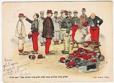 SOLDIERS TRYING ON UNIFORMS - Camis / Paris - 1900s era used postcard